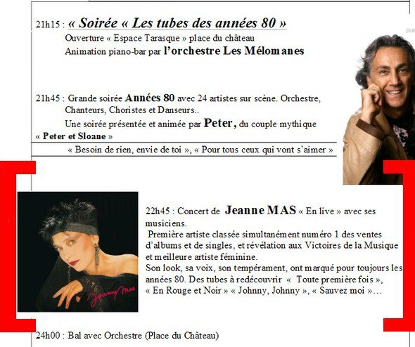 Nouvelle date de concert !!! - JEANNE MAS en LIVE - Le samedi 29 juin 2013 -  TARASCON (13 - Bouches -du - Rhne) 