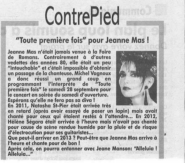 NOUVELLE DATE TOURNEE ETE 2013 - JEANNE MAS en concert - le 28 septembre 2013 -  ROMANS (26 - DROME) 